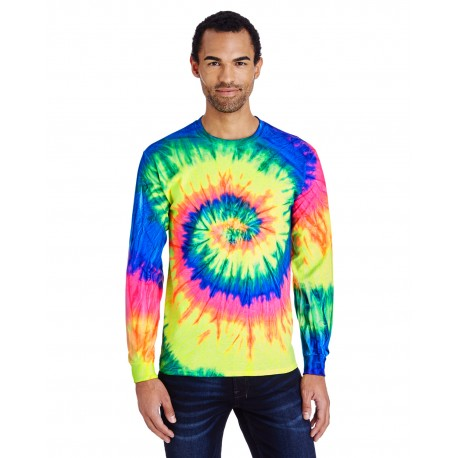 CD2000 Tie-Dye CD2000 Adult 5.4 oz., 100% Cotton Long-Sleeve Tie-Dyed T-Shirt NEON RAINBOW