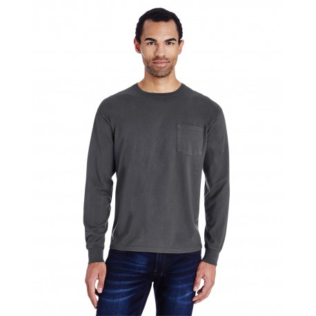 GDH250 ComfortWash by Hanes GDH250 Unisex 5.5 oz., 100% Ringspun Cotton Garment-Dyed Long-Sleeve T-Shirt with Pocket NEW RAILROAD