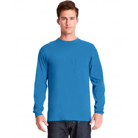 7451 Next Level 7451 Adult Inspired Dye Long-Sleeve Crew with Pocket OCEAN
