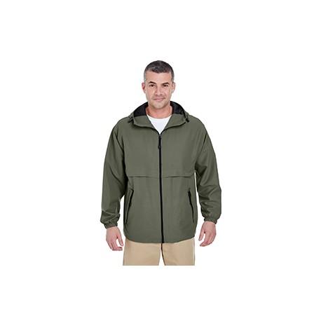 8908 UltraClub 8908 Adult Microfiber Full-Zip Hooded Jacket OLIVE