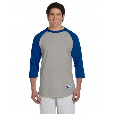 T1397 Champion T137 / T1397 Adult 5.2 oz. Raglan T-Shirt OXF GRY/TM BLUE
