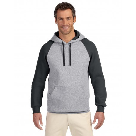 96CR Jerzees 96CR Adult 8 oz. NuBlend Colorblock Raglan Pullover Hood OXFORD/BLACK