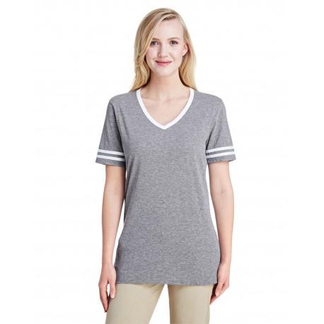 602WVR Jerzees 602WVR Ladies' 4.5 oz. TRI-BLEND Varsity V-Neck T-Shirt OXFORD/WHITE
