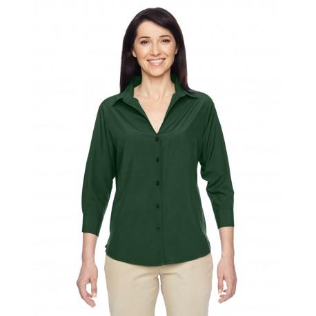 M610W Harriton M610W Ladies' Paradise 3/4-Sleeve Performance Shirt PALM GREEN