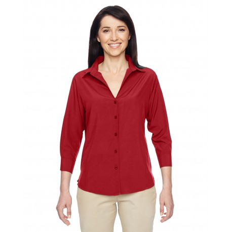 M610W Harriton M610W Ladies' Paradise 3/4-Sleeve Performance Shirt PARROT RED