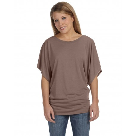 8821 Bella + Canvas 8821 Ladies' Flowy Draped Sleeve Dolman T-Shirt PEBBLE BROWN