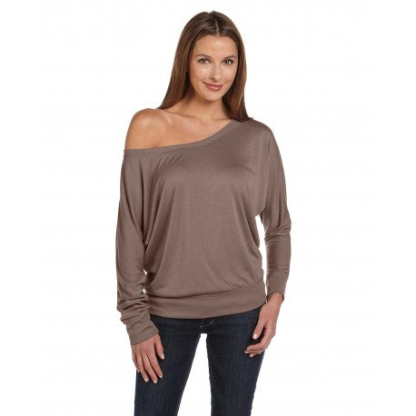 8850 Bella + Canvas 8850 Ladies' Flowy Long-Sleeve Off Shoulder T-Shirt PEBBLE BROWN