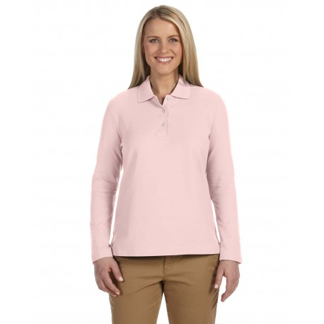 D110W Devon & Jones D110W Ladies' Pima Pique Long-Sleeve Polo PINK