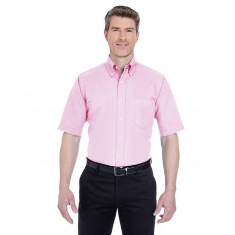 8972 UltraClub 8972 Men's Classic Wrinkle-Resistant Short-Sleeve Oxford PINK