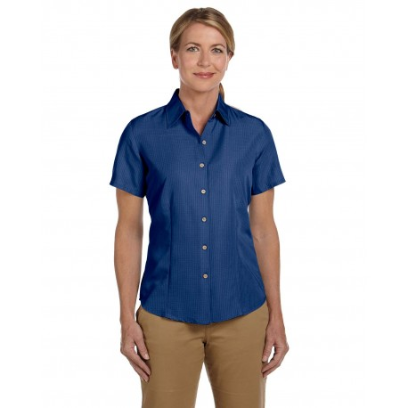 M560W Harriton M560W Ladies' Barbados Textured Camp Shirt POOL BLUE