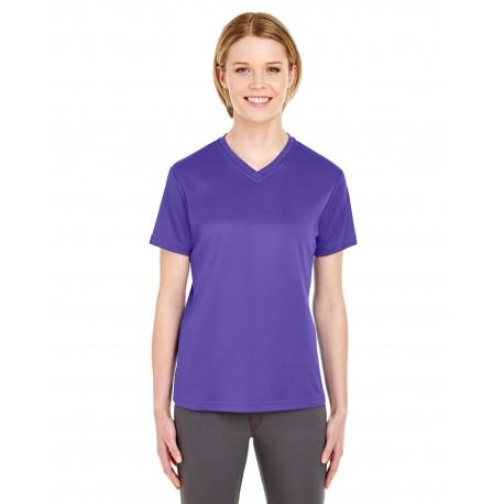 8400L UltraClub 8400L Ladies' Cool & Dry Sport V-Neck T-Shirt PURPLE