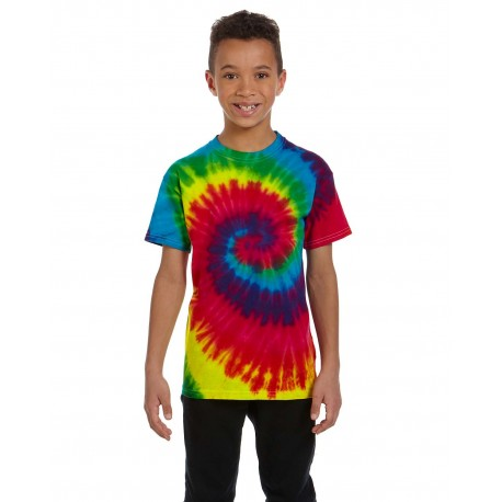 CD100Y Tie-Dye CD100Y Youth 5.4 oz., 100% Cotton Tie-Dyed T-Shirt REACTIVE RAINBOW