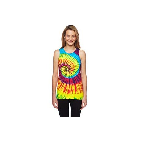 CD3500 Tie-Dye CD3500 Adult 5.4 oz., 100% Cotton Tie-Dyed Tank REACTIVE RAINBOW
