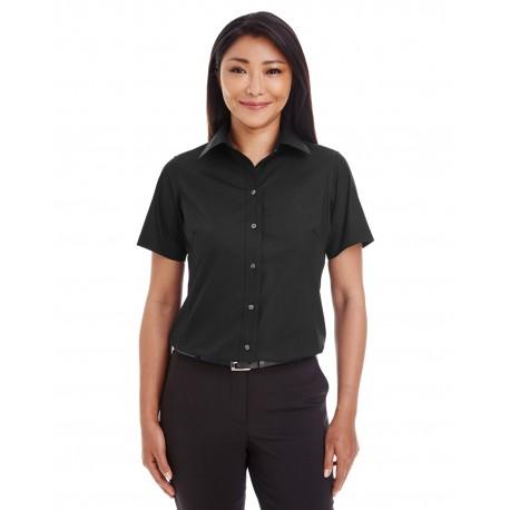 D620SW Devon & Jones D620SW Ladies' Crown Woven Collection Solid Broadcloth Short-Sleeve Shirt BLACK