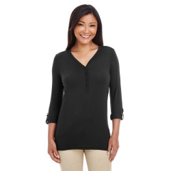 Devon & Jones DP186W Ladies' Perfect Fit Y-Placket Convertible Sleeve Knit Top