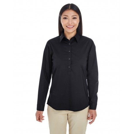 DP610W Devon & Jones DP610W Ladies' Perfect Fit Half-Placket Tunic Top BLACK