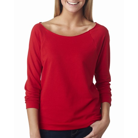 6951 Next Level 6951 Ladies' French Terry 3/4-Sleeve Raglan RED
