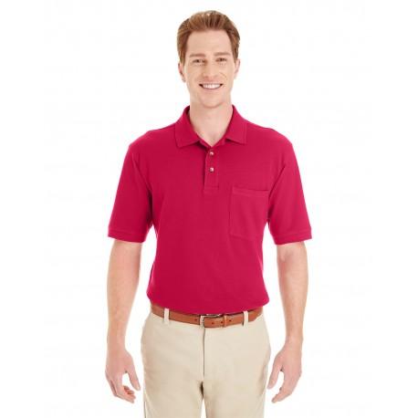 M200P Harriton M200P Adult 6 oz. Ringspun Cotton Pique Short-Sleeve Pocket Polo RED