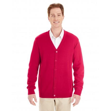 M425 Harriton M425 Men's Pilbloc V-Neck Button Cardigan Sweater RED