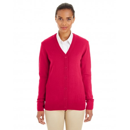 M425W Harriton M425W Ladies' Pilbloc V-Neck Button Cardigan Sweater RED