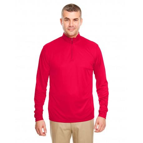 8424 UltraClub 8424 Men's Cool & Dry Sport Performance Interlock Quarter-Zip Pullover RED