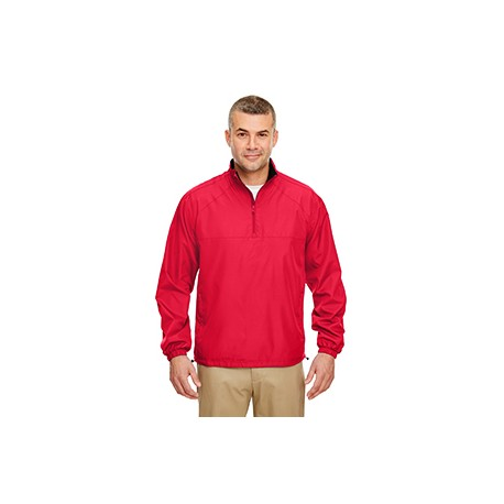 8936 UltraClub 8936 Adult Micro-Poly Quarter-Zip Wind Shirt RED