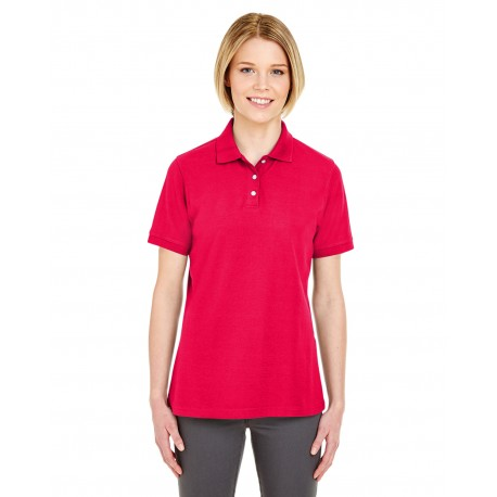 7510L UltraClub 7510L Ladies' Platinum Honeycomb Pique Polo RED