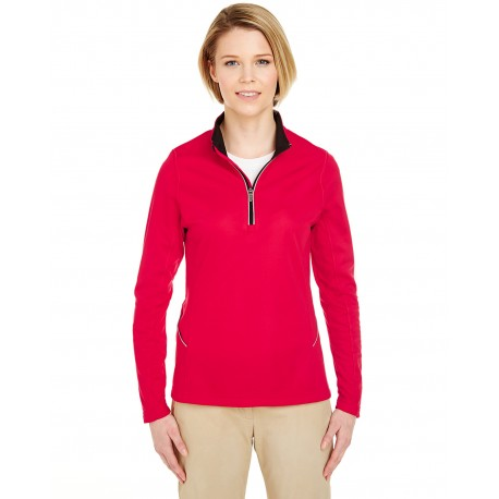 8230L UltraClub 8230L Ladies' Cool & Dry Sport Quarter-Zip Pullover RED