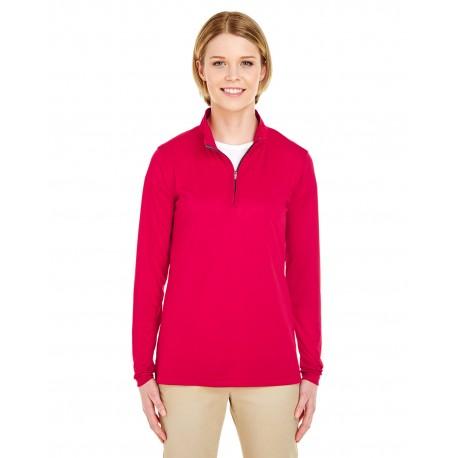 8424L UltraClub 8424L Ladies' Cool & Dry Sport Performance Interlock Quarter-Zip Pullover RED