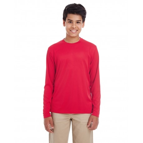 8622Y UltraClub 8622Y Youth Cool & Dry Performance Long-Sleeve Top RED