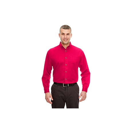 8960C UltraClub 8960C Adult Cypress Long-Sleeve Twill with Pocket RED