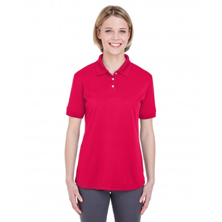 U8315L UltraClub U8315L Ladies' Platinum Performance Pique Polo with TempControl Technology RED