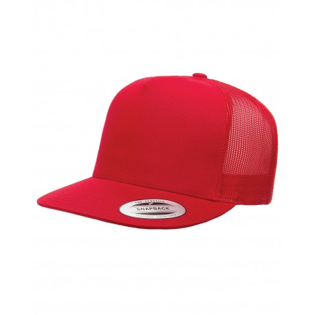 6006 Yupoong 6006 Adult 5-Panel Classic Trucker Cap RED
