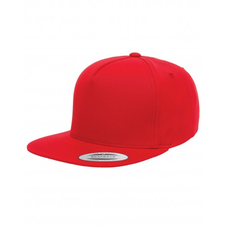 Y6007 Yupoong Y6007 Adult 5-Panel Cotton Twill Snapback Cap RED