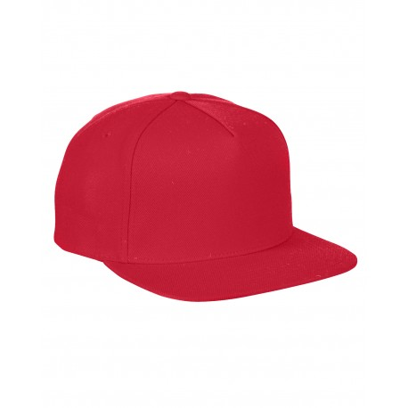 YP5089 Yupoong YP5089 Adult 5-Panel Structured Flat Visor Classic Snapback Cap RED