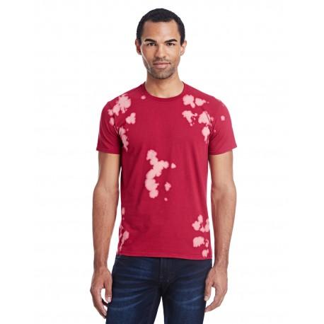 1385 Tie-Dye 1385 Adult 4.5 oz., 100% Ringspun Cotton Bleach-Out Tie-Dye T-Shirt RED