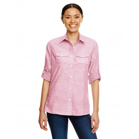 B5247 Burnside B5247 Ladies Texture Woven Shirt RED