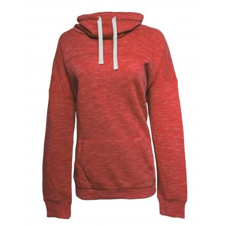JA8673 J America JA8673 Ladies' Melange Fleece Cowl Neck Sweatshirt RED