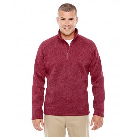 DG792 Devon & Jones DG792 Adult Bristol Sweater Fleece Quarter-Zip RED HEATHER