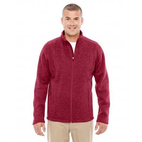 DG793 Devon & Jones DG793 Men's Bristol Full-Zip Sweater Fleece Jacket RED HEATHER
