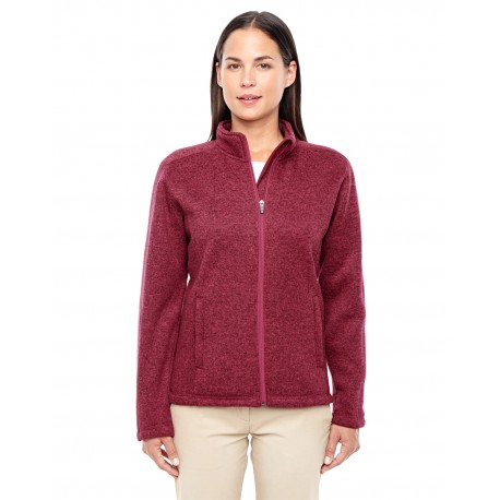 DG793W Devon & Jones DG793W Ladies' Bristol Full-Zip Sweater Fleece Jacket RED HEATHER