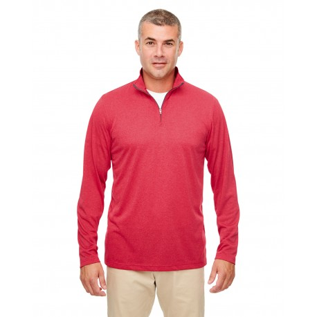 8618 UltraClub 8618 Men's Cool & Dry Heathered Performance Quarter-Zip RED HEATHER
