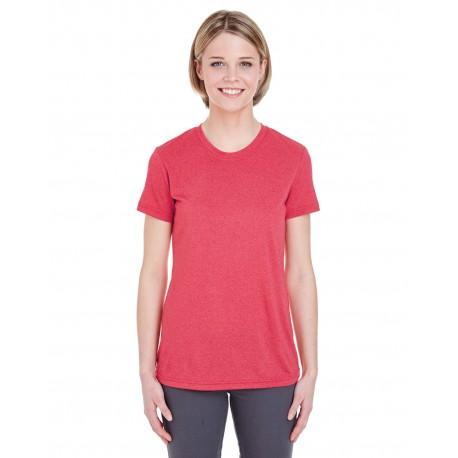 8619L UltraClub 8619L Ladies' Cool & Dry Heathered Performance T-Shirt RED HEATHER