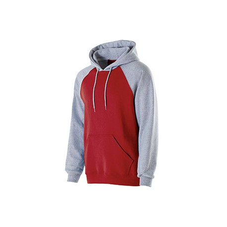 229179 Holloway 229179 Adult Cotton/Poly Fleece Banner Hoodie RED/ATHLTC HTHR