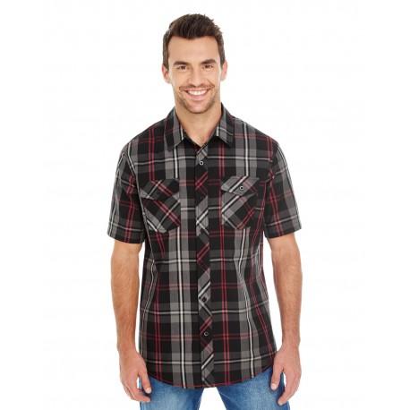 B9202 Burnside B9202 Men's Short-Sleeve Plaid Pattern Woven RED/BLACK
