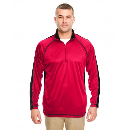 8398 UltraClub 8398 Adult Cool & Dry Sport Quarter-Zip Pullover with Side and Sleeve Panels RED/BLACK