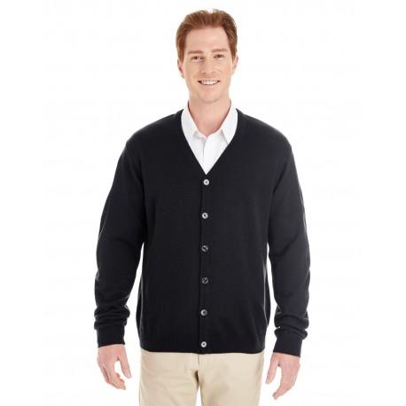 M425 Harriton M425 Men's Pilbloc V-Neck Button Cardigan Sweater BLACK
