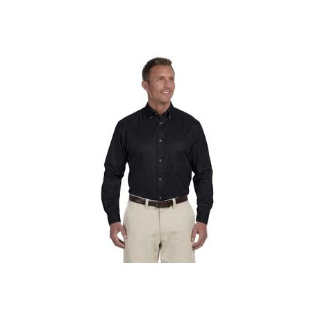 M500T Harriton M500T Men's Tall Easy Blend Long-Sleeve Twill Shirt with Stain-Release BLACK