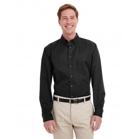 M581 Harriton M581 Men's Foundation 100% Cotton Long-Sleeve Twill Shirt with Teflon BLACK