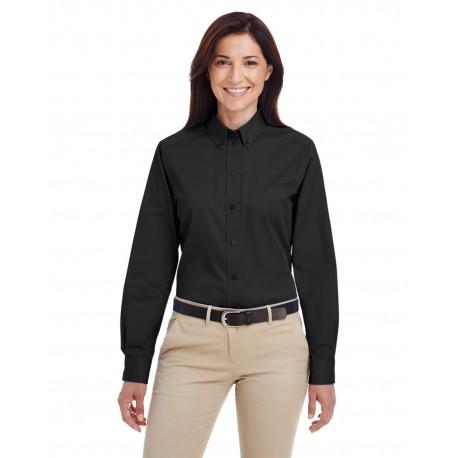 M581W Harriton M581W Ladies' Foundation 100% Cotton Long-Sleeve Twill Shirt with Teflon BLACK